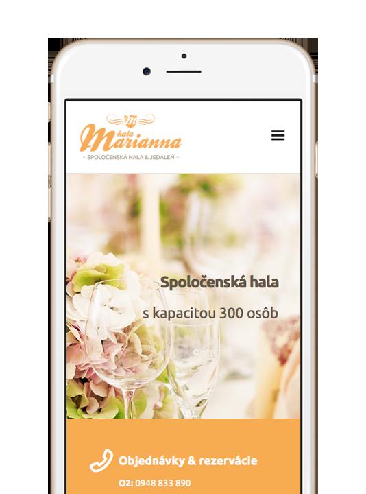Responzívna webová stránka pre spoločenskú sálu Hala Marianna. Navrhol Marek Hrebík | www.marekhrebik.sk
